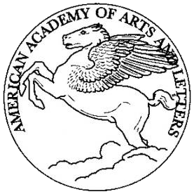 American Academy of Arts and  Letters logo: line drawing of Pegasus