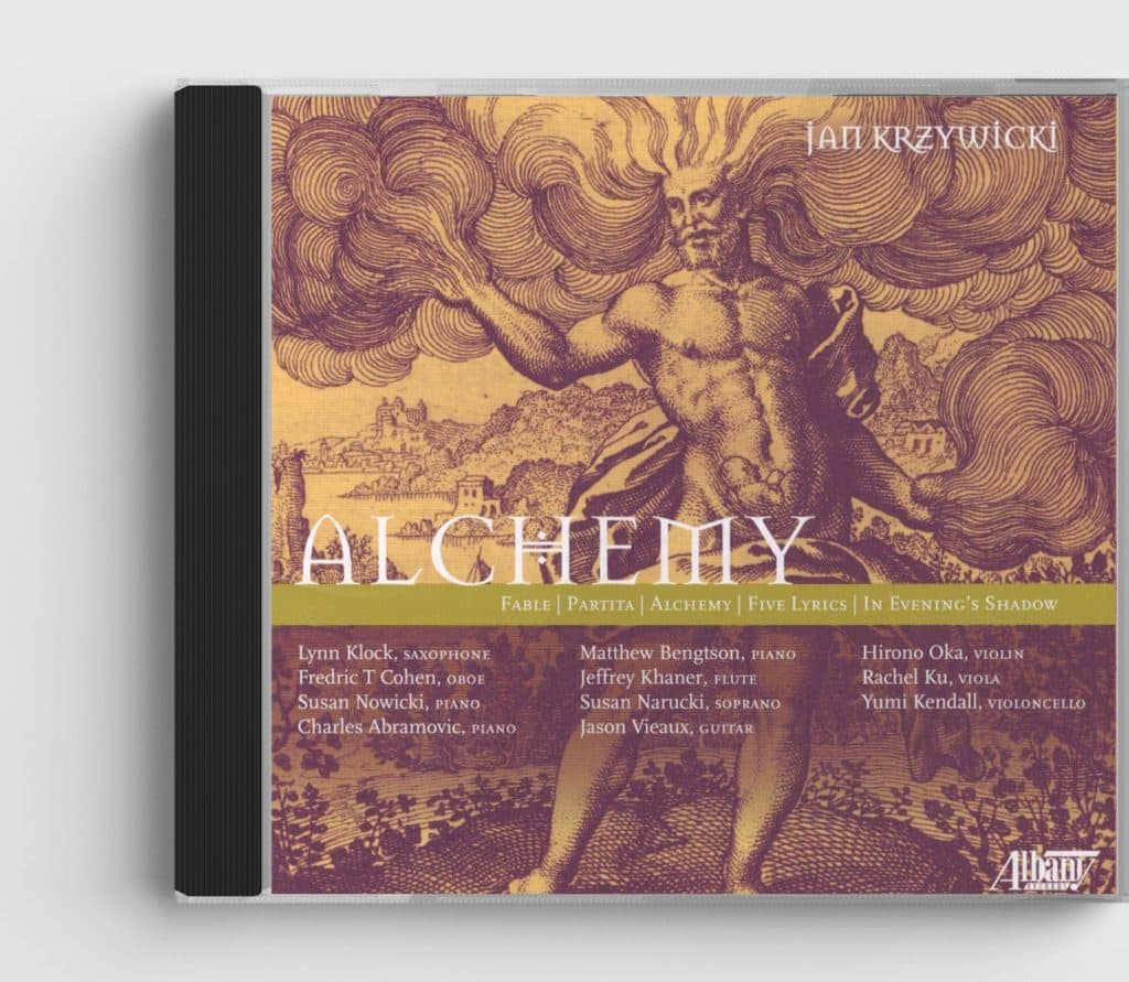 CD cover of Alchemy CD, shows etching of a male figure from ancient mythology