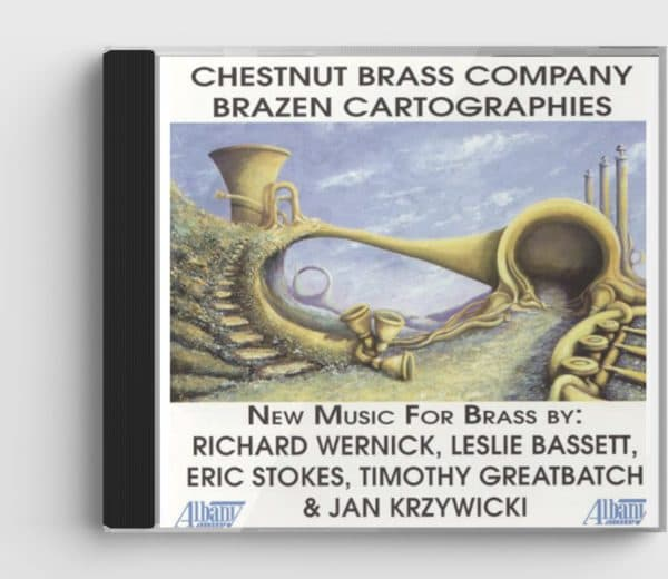 CD cover of Brazen Cartographies CD, shows a surrealist-style illustration of brass instruments