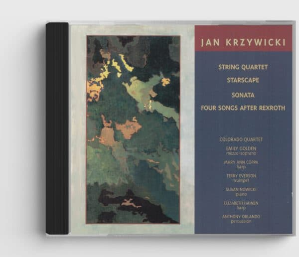 CD cover for Chamber Music of Jan Krzywicki CD, shows detail of abstract painting