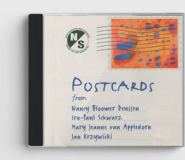 CD cover of Postcards CD, with image of a stamp and title/composers hand-written on the front
