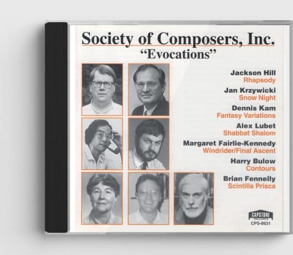 Society of Composers CD cover showing a grid of black and white headshots of composers